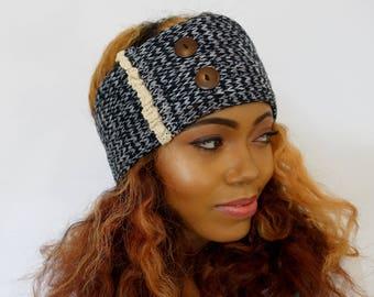 Giselle Ear Warmer Head Wrap - Knit Winter Ear warmer w/ Lace Button, Messy Bun Wrap, Satin Lining option - Black & Cream or CHOOSE color
