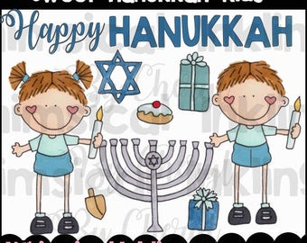 Sweet Hanukkah Kids Clipart Collection- Immediate Download