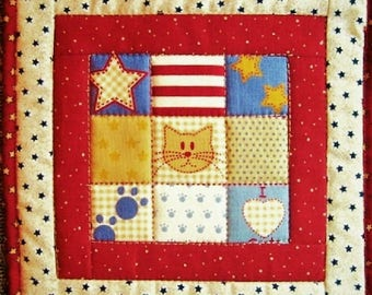One Cotton Fabric Quilted Potholder,Mug Rug - Stars and Stripes Cat, Kitchen Gift
