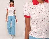 Polo Shirt 80s Shirt UMBRELLA PRINT Half Button Up Shirt Retro Novelty Collared Red White 1980s Nerd Vintage Short Sleeve Extra Small xs