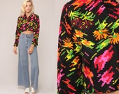 Floral Crop Top 70s Blouse NEON Shirt PIXELATED FLOWERS Boho Button Up Bohemian 1970s Vintage Hippie Long Sleeve Small Medium