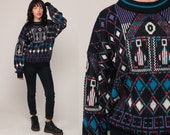 Tribal Sweater 80s Boho Aztec Geometric Print Grunge Slouchy 1980s Bohemian Vintage Pullover Jumper Knit Abstract Black Large