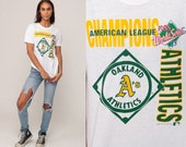 Oakland Athletics Shirt Baseball T Shirt WORLD SERIES 1988 TShirt Sports Retro Graphic American League Champions Vintage 80s Tee Small
