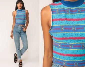 Striped Shirt Tribal Shirt Graphic Tank Top 80s Shirt Retro Surfer Print Vintage Blue Ringer Tee Cutoff Red Extra Small xs