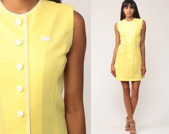 Mod Mini Dress LACOSTE 60s Shift Crocodile Yellow Preppy 1960s Tennis Chemise Twiggy 70s Vintage Sleeveless Minidress Small