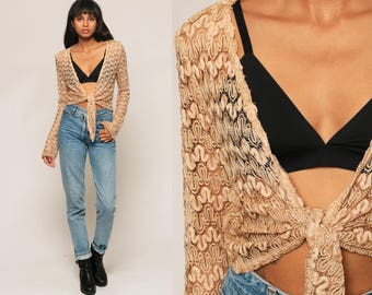 Lace Jacket Crochet Top 90s SHEER Blouse Bolero Bohemian Crop Top Open Weave Cut Out Hippie Boho Long Sleeve Vintage Bohemian Medium