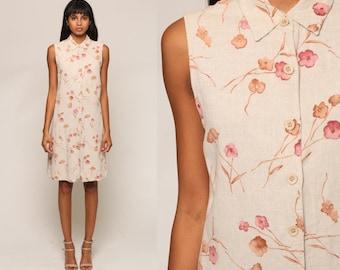 Floral GRUNGE Dress 90s Mini Linen Vintage Button Up Shift Sleeveless Beige 1990s sundress Retro Summer MiniDress Medium Large