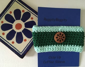 Coffee Cup Cozy in 2 Tone Green