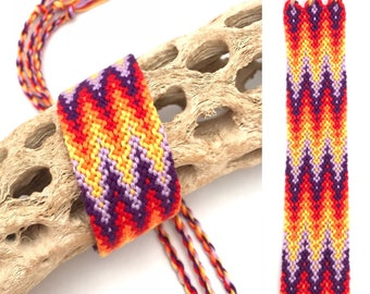 Friendship bracelet - cuff - wide - large - flame - embroidery floss - handmade - macrame - string - woven - thread - knotted - arrowhead