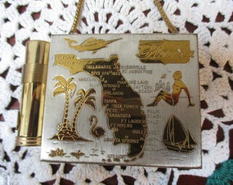 Vintage Gold/ Silver  Tone Florida Souvenir Compact  Purse & Lipstick Holder with  Cain Handle Beautiful!!!