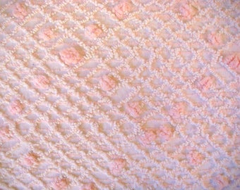 Pink with White Over Tufting Vintage Cotton Chenille Bedspread Fabric 12 x 24 Inches