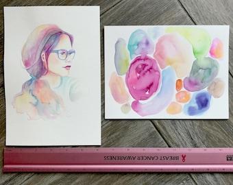 GRAB BAG Originals - Mystery Girl + Colorful Puddles Watercolor Paintings
