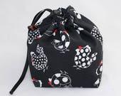 Mini Project Bag - Dotty Hens