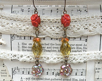 earrings fall floral assemblage brown autumn upcycled vintage jewelry romantic garden mori girl betty watkins