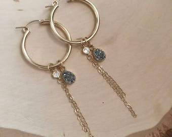 Druzy Gold Hoop Earrings with chain detail and cubic zirconia