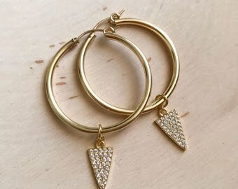 Gold Hoop Earrings with Triangle CZ Geometric Charm . ( diamond look )