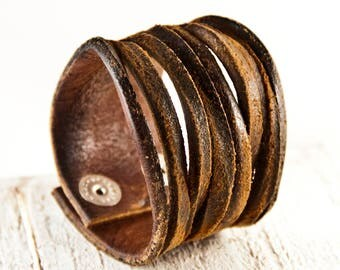 Brown Leather, Leather Jewelry, Leather Bracelets, Vintage Leather, Distressed Leather Cuff Wristbands