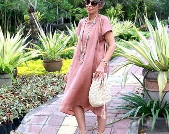 LINEN, Irra Dress, Caftan, Kaftan, Oversize Dress, Midi, Resort Wear, Bohemian, Tropical Clothing, Beach Dress, Coverup, 4 Sizes