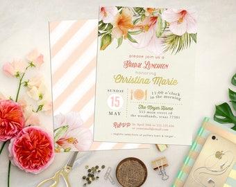 Tropical Shower Invitations. Printable Tropical Custom Baby & Bridal Shower Invites. Luau Shower. Watercolor Tropical. Hawaiian Shower