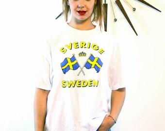 SALE 50% OFF Vintage SVERGE Sweden T-Shirt White Cotton Bright Blue Yellow Swedish Double Flag Crown Unisex Men's Women's Tourist Patriotic