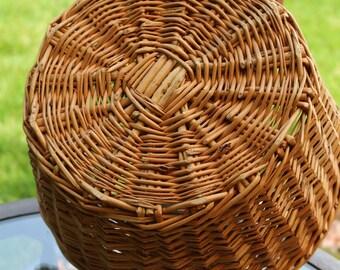 Vintage Woven Wicker Large Round Open Basket