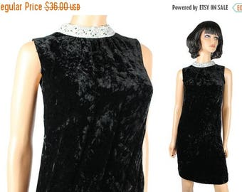 ON SALE 60s Disco Dress XS Vintage Black Velvet Silver Sleeveless Mod GoGo Costume Free Us Shipping