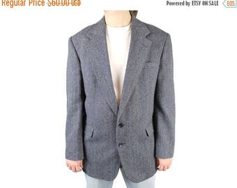 ON SALE Herringbone Tweed Blazer 43L 44L Vintage Slate Blue Gray Wool Jacket Coat Haggar Free Us Shipping