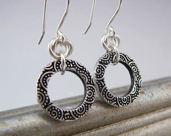 Circle Earrings, Silver Dangle Earrings, Silver and Black Drop Earrings, Cool Earrings, Hoop Earrings for Women, Gift Under 30, Cool Jewelry