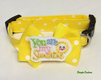 You Are My Sunshine Collar With Bow Size XS through Large by Doogie Couture Pet Boutique