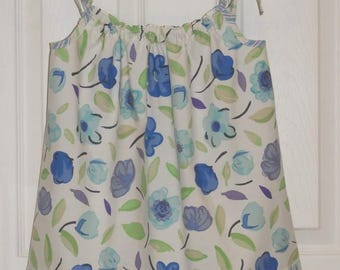 Girl's Pillowcase Dress, Vintage Sheeting, Blue Mauve and Green Floral with Stripe, Eco-friendly