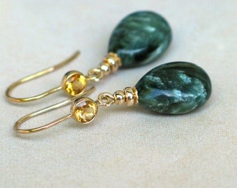 Russian Seraphinite and Citrine Earrings | Dark Green Smooth Pear Drops | Golden Citrine Bezel 14k Gold Fill Dangles | Gift | Ready to Ship