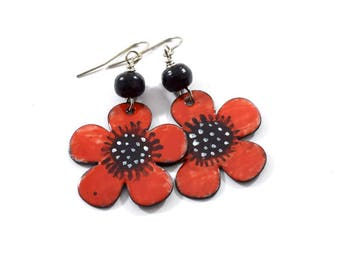 Big Red Flower Handmade Earrings, Enameled Earrings, Antique Silver Earrings, Flower Earrings, Artisan Earrings, Red and Black, OOAK, AE097