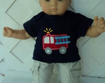 Bitty Baby Boy 2 pc. cute Fire engine pants set, doll clothes