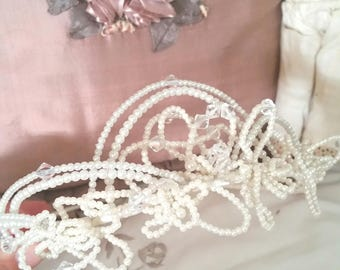 vintage wedding tiara, bridal tiara, 80s headpiece, magnificent faux pearls, crystal beads, mouldable shapes
