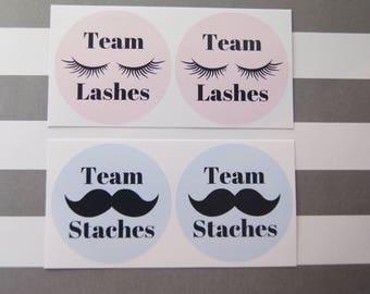 Gender Reveal Stickers Baby Boy Baby Girl Team Lashes Team Staches Gender Party- SES376