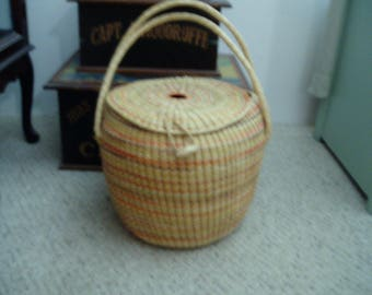 Vintage Extra Large Basket with Lid and Clasp