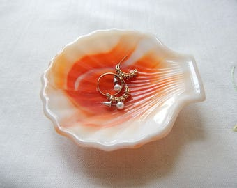 Akro Agate Shell dish, ring dish, ashtray, orange swirl, slag glass