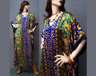Vintage 90s Hippie Boho Dress Cherub Baroque Scarf Gypsy Caftan Maxi OS