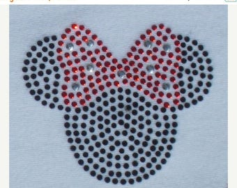 SALE 2.5 inch red/black Minnie Mouse iron on rhinestone Tiny transfer for Disney t shirt or costume