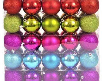 New Set of 50 Shatter Resistant Jewel-Colored Ornaments-Perfect for Christmas Crafts - FREE US Shipping