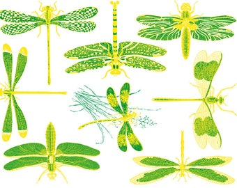 Two Color Dragonfly Ceramic Decals, Glass Fusing Decals, Waterslide Decals, Ceramic Transfers