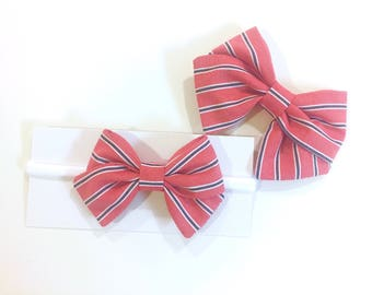 Red, White & Blue stripe bow - clip or nylon