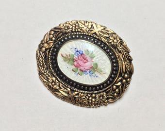 Vintage Guilloche Enamel Rose Brooch Pin