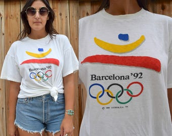Vintage 1992 BARCELONA OLYMPICS 50 50 Cotton Poly Blend TEE M L