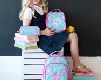 Special 3 Piece Set - Monogrammed Hot Pink, Lavender and Mint Marlee Backpack, Lunch Box & Pencil Case; Back to School; Great for Girls
