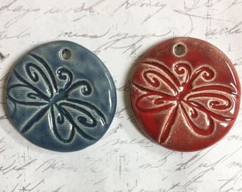 Dragonfly Pottery Pendant in Red or Denim Ceramic Pendant by Clay Designs by glee