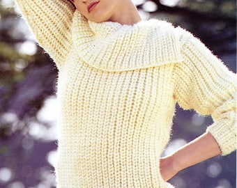 Vintage 80s Emu 3705 Split Cowl Neck Sweater Knitting Pattern Chunky Fishermans Rib Knit Bust 32 through 42 Small Medium Large