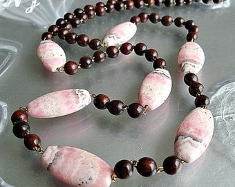 Fine wood long Necklace. Rhodochrosite jewelry. Rosary Necklace.