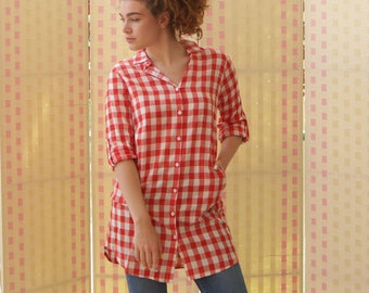 Women top.  button-down shirt, long sleeves, red checkered, cotton tunic, casual , pockets