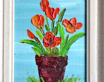 Vintage Miniature Oil on Canvas Painting - JJ Red Poppy in Vase